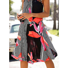 Print/Floral/Striped Sleeveless A-line Knee Length Casual/Vacation Slip/Skater Dresses