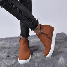 Women's Leatherette Flat Heel Boots With Zipper Solid Color shoes