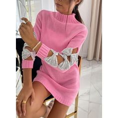 Sequins Stand Collar Casual Long Sweater Dress