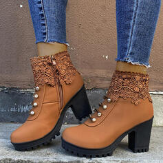 Women's PU Chunky Heel Ankle Boots Round Toe Martin Boots With Buckle Zipper shoes