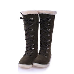 Women's Suede Flat Heel Boots Snow Boots Winter Boots With Lace-up shoes
