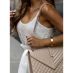 Solid Beaded Spaghetti Straps Casual Vest/Sleeveless