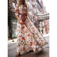Print/Floral 3/4 Sleeves A-line Casual/Boho/Vacation Maxi Dresses
