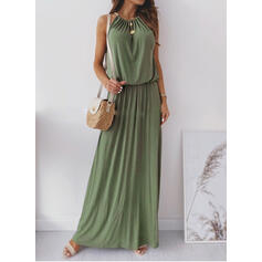 Solid Sleeveless A-line Slip Casual Maxi Dresses