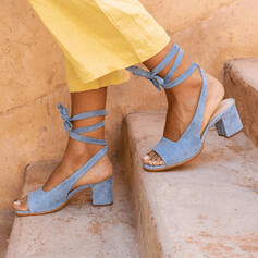 Women's Suede Chunky Heel Sandals Pumps With Lace-up shoes