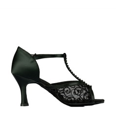 Women's Latin Heels Sandals Satin Lace With T-Strap Modern