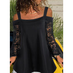 Solid Lace Cold Shoulder Flare Sleeve Long Sleeves Casual Blouses