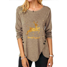 Print Sequins Figure Round Neck Long Sleeves Button Up Casual Christmas Blouses
