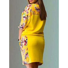 Plus Size Floral Print 1/2 Sleeves Shift Above Knee Casual Dress