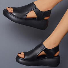 Women's PU Wedge Heel Sandals With Velcro Solid Color shoes