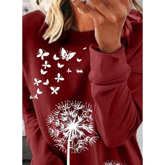 Animal Print Dandelion Round Neck Long Sleeves Sweatshirt