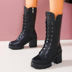 Women's PU Chunky Heel Mid-Calf Boots Round Toe Martin Boots With Lace-up Solid Color shoes