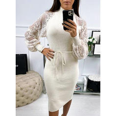 Lace/Solid Long Sleeves Bodycon Knee Length Casual Pencil Dresses