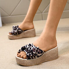 Women's Leatherette Wedge Heel Sandals Pumps Wedges Peep Toe Slingbacks Slippers With Bowknot shoes