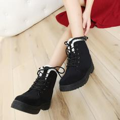 Women's Suede Flat Heel Boots Winter Boots With Lace-up shoes