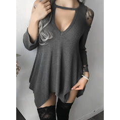 Solid Cold Shoulder 3/4 Sleeves Casual Knit Blouses