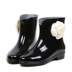 Women's PVC Low Heel Boots Ankle Boots Rain Boots With Flower shoes