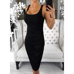 Solid Sleeveless Bodycon Knee Length Little Black/Casual/Vacation Tank Dresses