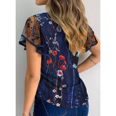 Print Floral Round Neck Short Sleeves Button Up Casual Blouses