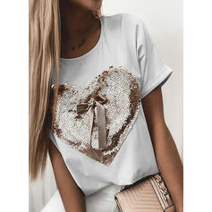 Sequins Heart Round Neck Short Sleeves Casual T-shirts