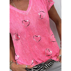 Heart Print V-Neck Short Sleeves T-shirts