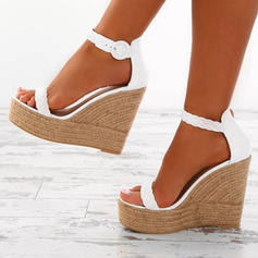 PU Wedge Heel Sandals With Buckle Braided Strap shoes