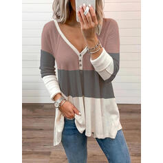 Color Block V-Neck Long Sleeves Button Up Casual Knit Blouses