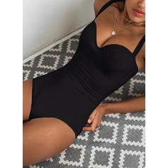 Solid Strap V-Neck Sexy Casual One-piece Swimsuits