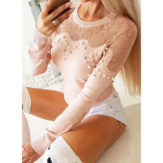 Solid Lace Beaded Round Neck Long Sleeves Elegant Knit Blouses