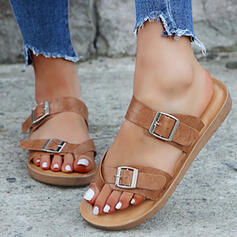 Women's Leatherette Flat Heel Sandals Flats Flip-Flops Slippers With Buckle Animal Print shoes