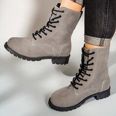 Women's Leatherette Chunky Heel Martin Boots With Solid Color shoes