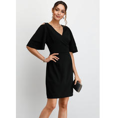 Solid 1/2 Sleeves Sheath Above Knee Little Black/Party Dresses