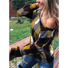 Plaid Round Neck Long Sleeves Casual Blouses