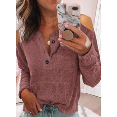 Solid Pockets Cold Shoulder Casual Knit Tops