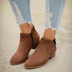 Women's PU Chunky Heel Boots Pointed Toe With Hollow-out Solid Color Breathable shoes