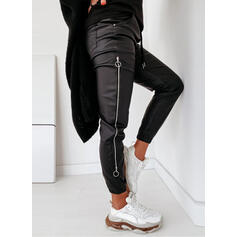 Solid Patchwork Sporty Leather Vintage Pants