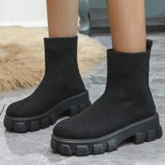 Women's Flying Weave Flat Heel Boots Sock Boots With Elastic Band Solid Color shoes