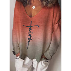 Print Gradient Letter V-Neck Long Sleeves Casual T-shirts