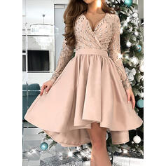 Sequins Long Sleeves A-line Knee Length Party/Elegant Skater Dresses