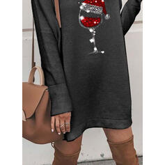 Print/Sequins Long Sleeves Shift Above Knee Christmas/Casual Tunic Dresses