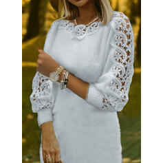 Solid Lace Round Neck Casual Sweater Dress