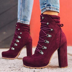Women's Suede Chunky Heel Ankle Boots Round Toe Martin Boots With Lace-up Solid Color shoes