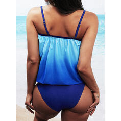 Gradient High Neck Tankinis Swimsuits