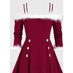 Solid 3/4 Sleeves A-line Knee Length Christmas/Party Skater Dresses