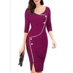Solid 1/2 Sleeves Bodycon Knee Length Casual/Party/Elegant Dresses