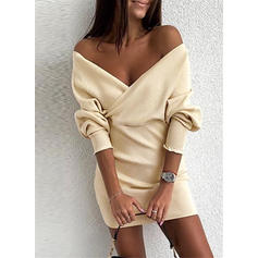 Solid Off the Shoulder Casual Sweater Dress