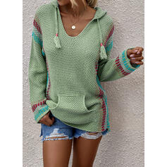 Print Pocket Hooded Casual Sweaters