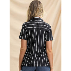 Striped Lapel Short Sleeves Button Up Casual Shirt Blouses