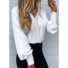 Solid Lace V-Neck Lantern Sleeve Long Sleeves Elegant Blouses