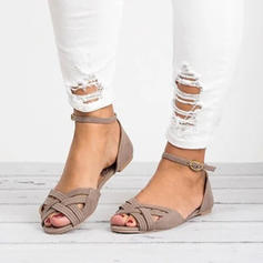 Leatherette Flat Heel Sandals With Braided Strap shoes
